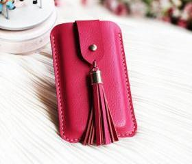 Handmade Genuine Leather Phone case in Rose red/ Wallet / sister / iphone5 / iphone4s / leather case / travel / Women / For Her