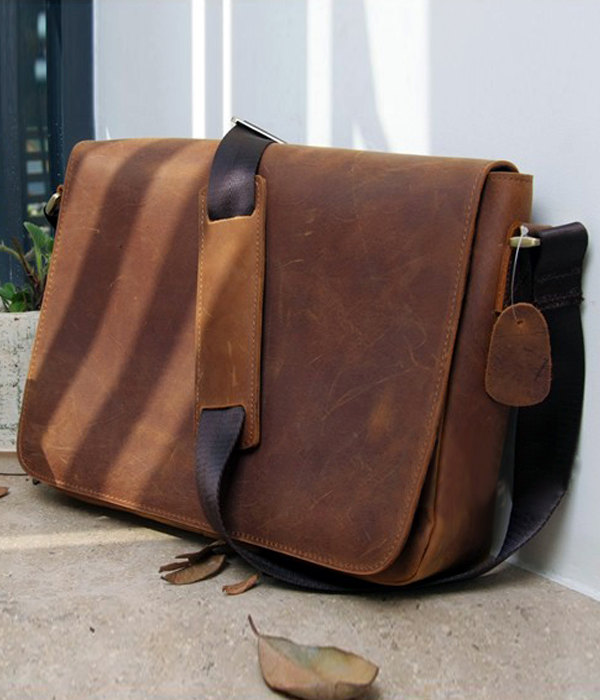 Rugged Genuine Messenger Bag Leather Briefcase Leather