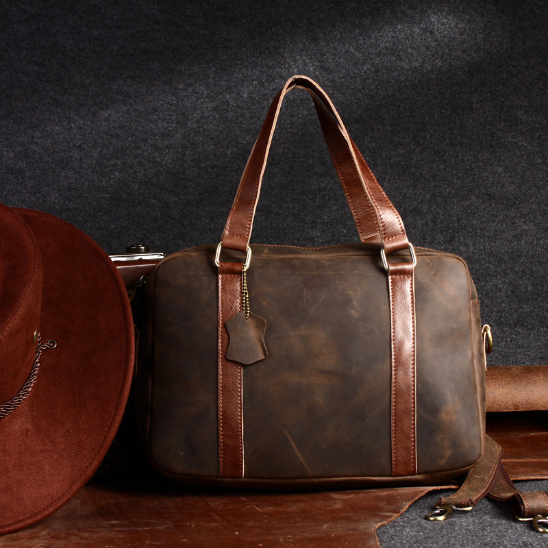 Retro Leather Travel Bag / Leather Briefcase / Messenger Bag ...