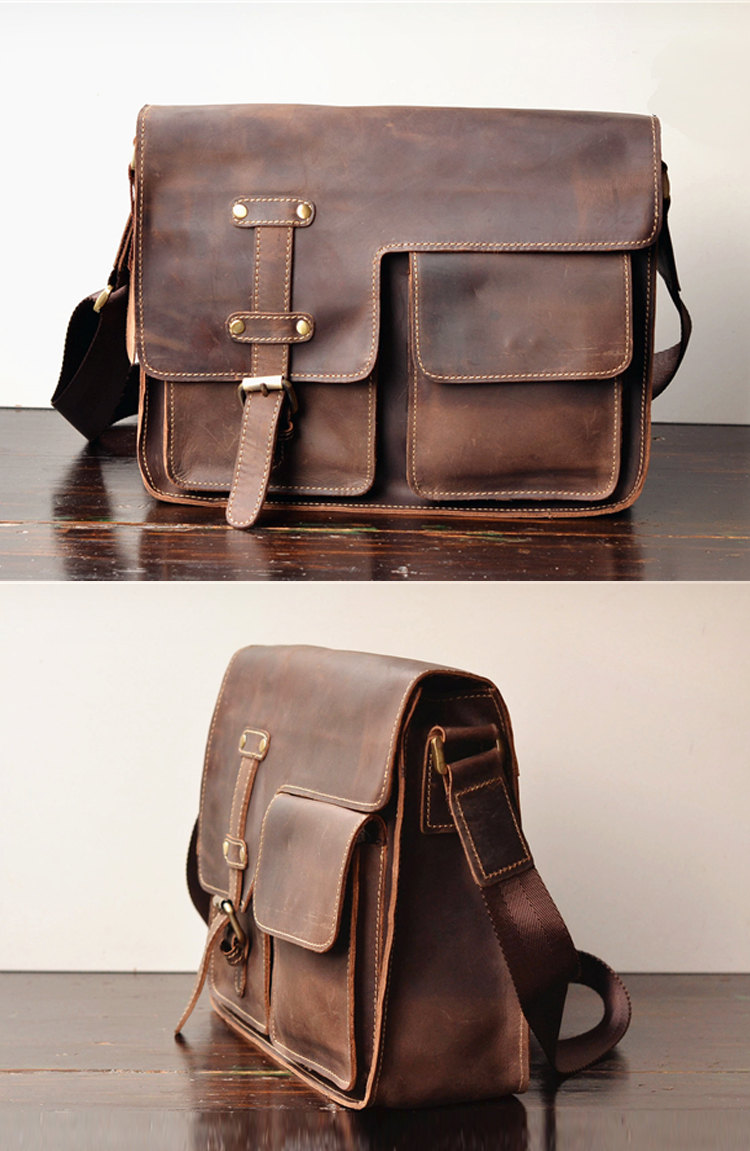 Simple Leather Briefcase - Messenger Bag - Leather Laptop - Men's ...