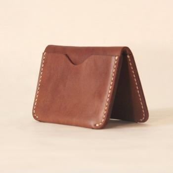 Handmade Leather card case / Minimal Leather Wallet / Cash Card Holder-T31