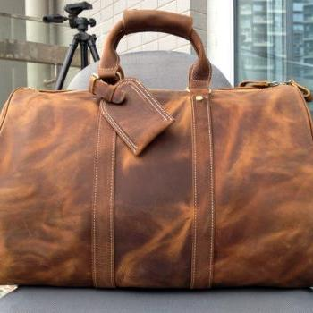 Large Travel Bag / Genuine Leather Briefcase / Men Leather Bag / Weekend Bag / Messenger / Luggage Travel Bags / Travelling Bags-Y30
