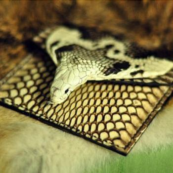 snakeskin Wallet / Genuine Leather Card Case / Slim Card Holder / Personality wallet / Mini wallet / Men Cash Card Holder-T80